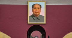 4K time lapse moving down the Portrait of Mao Zedong to Forbidden City entrance Stock Footage