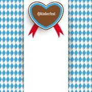 bavarian oktoberfest flyer centre heart - stock illustration
