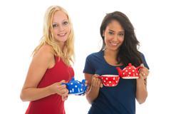 Girl friends drinking tea Stock Photos