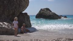 Happy Family Bathing in Sea, Child Enjoying Waves on Coastline, Seaside Seashore Stock Footage