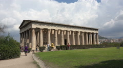 Athens Greece tourists Agora Temple of Hephaestus 4K 054 Stock Footage