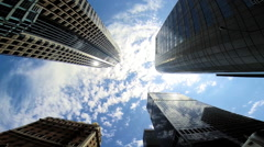 Skyscrapers apartments blue sky clouds Urban living Los Angeles  USA - stock footage