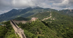 4K time lapse of the Great Wall of China, high in the mountains at Mutianyu Stock Footage
