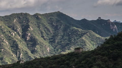 Time lapse of ancient watchtowers in the mountains of the Great Wall of China Stock Footage