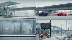 Snowy Roads In Winter Montage Stock Footage
