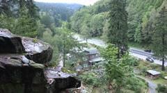 4k Tourism destination low mountain range Harz panning Stock Footage