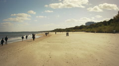 Beach during autumn season on the Baltic sea Stock Footage
