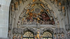 """Facade and main portal of Bern cathedral  with gothic detail named """"The Last Jud Stock Footage"""