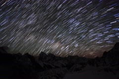 4K. Time lapse of stars behind mountains Everest, Lhotse and Makalu from Gokyo Stock Footage