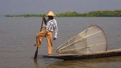 Fisherman in Inle Lake at Sunset, Shan State, Myanmar (Burma) Stock Footage
