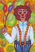Clown with big pants Stock Illustration