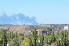 4K. Fire at the Airport. Smoke rises above the horizon. Donetsk, Novorossia Stock Footage