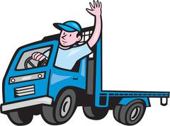 Flatbed truck driver waving cartoon Piirros