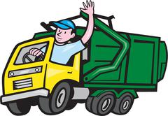 Garbage truck driver waving cartoon Piirros