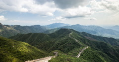 4K time lapse of the amazing Great Wall of China snaking through the mountains Stock Footage