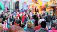 Crowd on the annual funfair in Hoorn, the Netherlands - stock footage