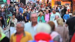 Crowd on the annual funfair in Hoorn, the Netherlands Stock Footage