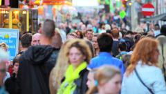 Crowded street on carnival in Netherlands - stock footage