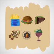 Set color vector sketches icons of food - stock illustration