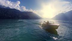 carefree lifestyle. happy man enjoying boat ride. leisure recreation activity - stock footage