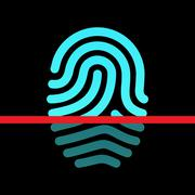 Fingerprint identification system - loop type icon. - stock illustration