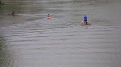canoing on the Tiber in Rome - stock footage