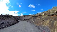 POV Time lapse driving dirt road vehicle Mt Mauna Kea Big Island Hawaii Stock Footage