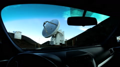POV Driving Satellite Telescope VLA Very Large Array Technology Astronomy Stock Footage