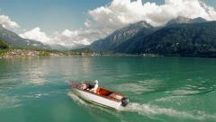 Aerial view of boat on lake. leisure recreation activity. carefree lifestyle Stock Footage