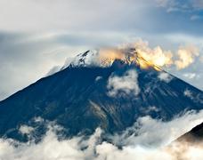 Eruption of a volcano tungurahua, cordillera occidental of the andes of centr Stock Photos
