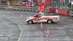 Chiang Mai, Thailand - September 20 - Racer Show Drift Spin Toyota Vigo Car In T Stock Footage