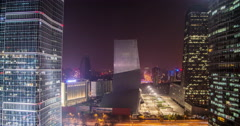 4K time lapse of the Beijing Central Business District and CCTV Headquarters Stock Footage