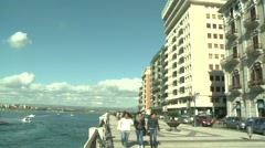 European port cities Livorno day exterior whit people walking-006 Stock Footage