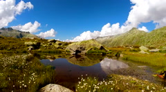 flying over epic mountain landscape scenery. peaceful nature background - stock footage