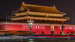 HD time lapse of Tiananmen, the Gate of Heavenly Peace in Beijing, China Stock Footage