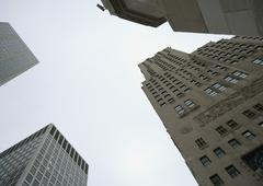 High rise buildings, low angle view - stock photo