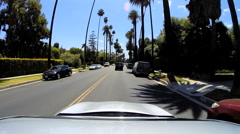 POV Highway driving city suburban traffic Beverly Hills Los Angeles USA Stock Footage