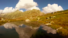 lake water reflection. epic mountain landscape scenery. peaceful nature - stock footage