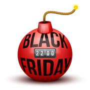 Red Bomb About To Blast with Black Friday sales tag. - stock illustration
