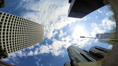 Skyscrapers business blue sky clouds Urban scene Los Angeles USA - stock footage