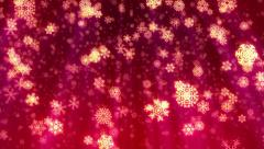 Christmas snowflakes falling, loop-able, red version. - stock footage
