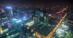 4K Night time lapse of the Beijing business district and famous CCTV building Stock Footage