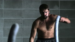 Crossfit Athlete with Ropes Stock Footage