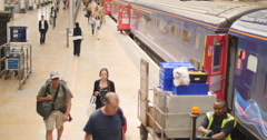 Unloading train at Paddington station in London 4K Stock Footage