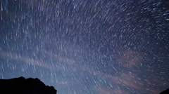 Star tracks on a background of mountains. TimeLapse. 1280x720 - stock footage