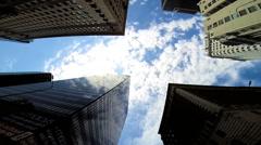 Skyscrapers business blue sky clouds Urban scene Los Angeles USA Stock Footage