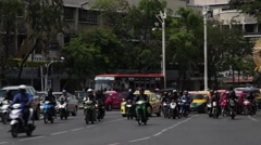 Telephoto view of traffic in an Asian city (Bangkok) - stock footage