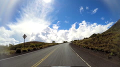 POV driving Mt Mauna Kea Mountain road Big Island Hawaii USA Stock Footage