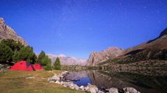 Stars reflected in the lake. TimeLapse. Pamir, Tajikistan Stock Footage