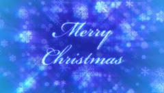 Merry Christmas, loop-able between 8:00-12:00, on background of blue snowflakes. - stock footage